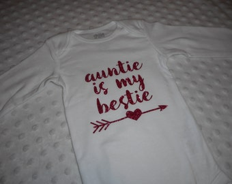 "Pink Baby Girls Bodysuit  ""Auntie Is My Bestie"" Hot Pink Glitter Vinyl Baby Outfit - Baby Girl Aunt Outfit"