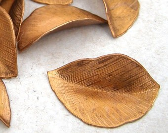 6 Solid Copper Feather Leaves