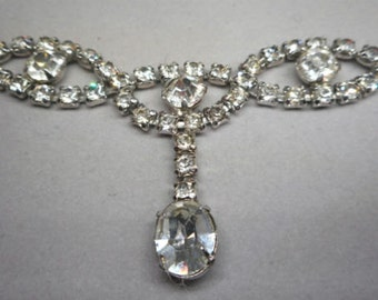 Art Deco Rhinestone Lavaliere Necklace circa 1930