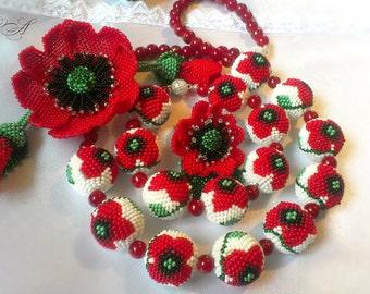 Set beaded jewelry Beaded jewelry Beaded bracelet Beaded necklace Bead earrings Brooch poppy Balls poppies Gift from Ukraine Ball bead