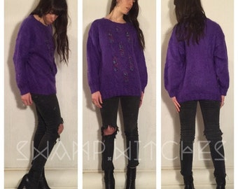 80's vintage purple mohair wool sweater