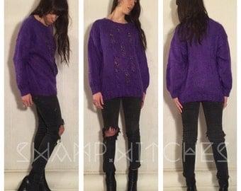 80's vintage purple mohair wool sweater