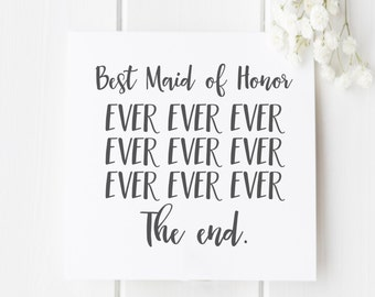 Maid of honor Thank You Card|Maid of honor Card|Thanks for being my Maid of honor Card|Wedding Thank You Card|Wedding Card|Bridesmaid Card