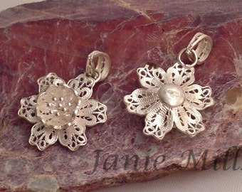 Sterling Silver Filigree Flower 19mm