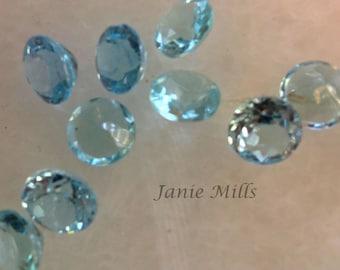 Blue Topaz Faceted gemstone 10 mm round