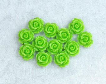 12 Green Rose Cabochon Lime Green Cabochon Green Flower Cabochon 11mm Rose Cabochon