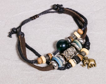 Leather bracelet-  Bottle Green Bead And Brass elephant bracelet- Leather Tibetan beads Bracelet- Elephant charm Bracelet LB19