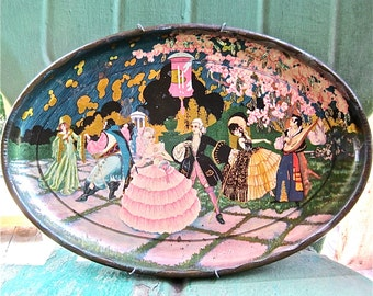 Antique Lithographed  Tin Tray With Fairy Tale Masquerade Ball Motif Complete With Wall Hanger