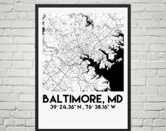 Instant Download Map Poster of Baltimore, MD (Digital)