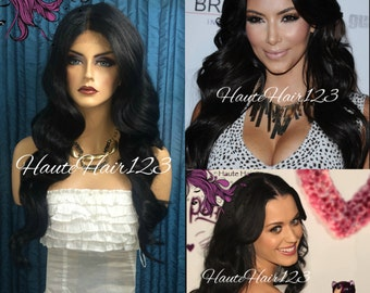Human Hair Blend Kim Kardashian Katy Perry Inspired Black Wavy Realisitc Lace Front Wig