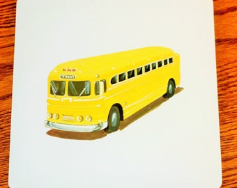 Vintage Double-Sided Large Flash Card - 1960's  - Retro Yellow Bus - Retro Decor