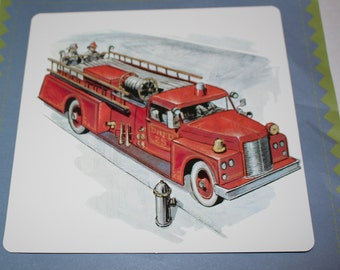 Large Vintage Flash Card - Red Fire Engine - Fire Engine Print - Retro Fire Engine - 1960's