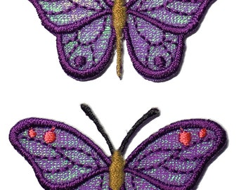 Purple Butterflies Embroidered Iron On Appliques