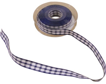 Gingham Check Navy Blue White Ribbon 15mm *4 Lengths*