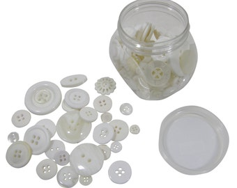 White 120g Jar of Mixed Buttons