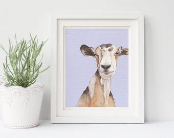 Goat print- G180DL, goat print of watercolor painting, downloadable goat print, nursery art print, goat printable, farmyard animal print