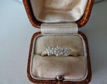 Pretty 1/2 Carat Diamond 9K Yellow Gold Trilogy Ring Size M1/2