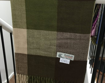 Cashmere feel Shawl Brown/Army Green