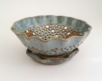 Berry Bowl & Saucer, Blue with Rust, Stoneware Colander•wheelthrown•wavey rim•fruit sieve•Artisan•UK studio pottery•unique•Made To Order