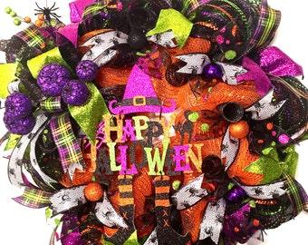 Halloween Deco Mesh Wreath, Halloween Wreath, Halloween Mesh wreath