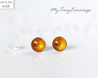 Stud Earrings 4mm Yellow Round Tiny Butterscotch Color Epoxy Resin Mini Gift for Her - Stainless Steel Posts 108