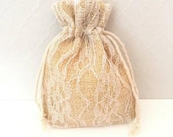 10 Burlap Lace Favor Bags  - Wedding Favor Bags - Party Favor Bags - Rustic Wedding Favor Bags - Bridal Shower Favor Bags - Burlap Bags -
