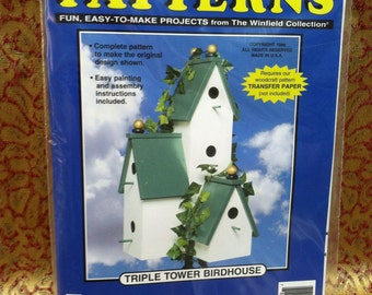 Woodworking.  Full Size Pattern.  Triple Tower Birdhouse.  The Winfield Collection.