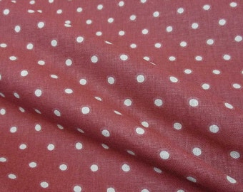 cotton fabric dots dark red beige from France