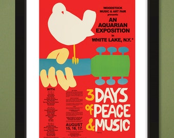 Woodstock 1969 Concert Poster (Heavyweight Art Print 12x18)