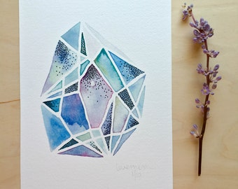 Oasis Gem - Fine Art Giclee print - Watercolour painting - Geometric - A5 - Office art