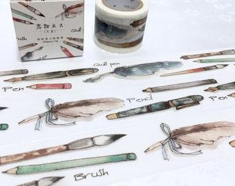pen theme washi tape 7M x 3cm pen collection pen set decor sticker tape feather pen writing painting brush pen ink pen study planner sticker