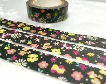 10M black flower Washi masking tape lovely flower washi tape blossom florist blossom flower sticker tape flower diary planner scrapbook