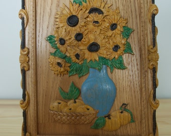 Painted sunflowers- picture. Wonderful, bright  picture that gives you  feeling of sunny day. Free shipping