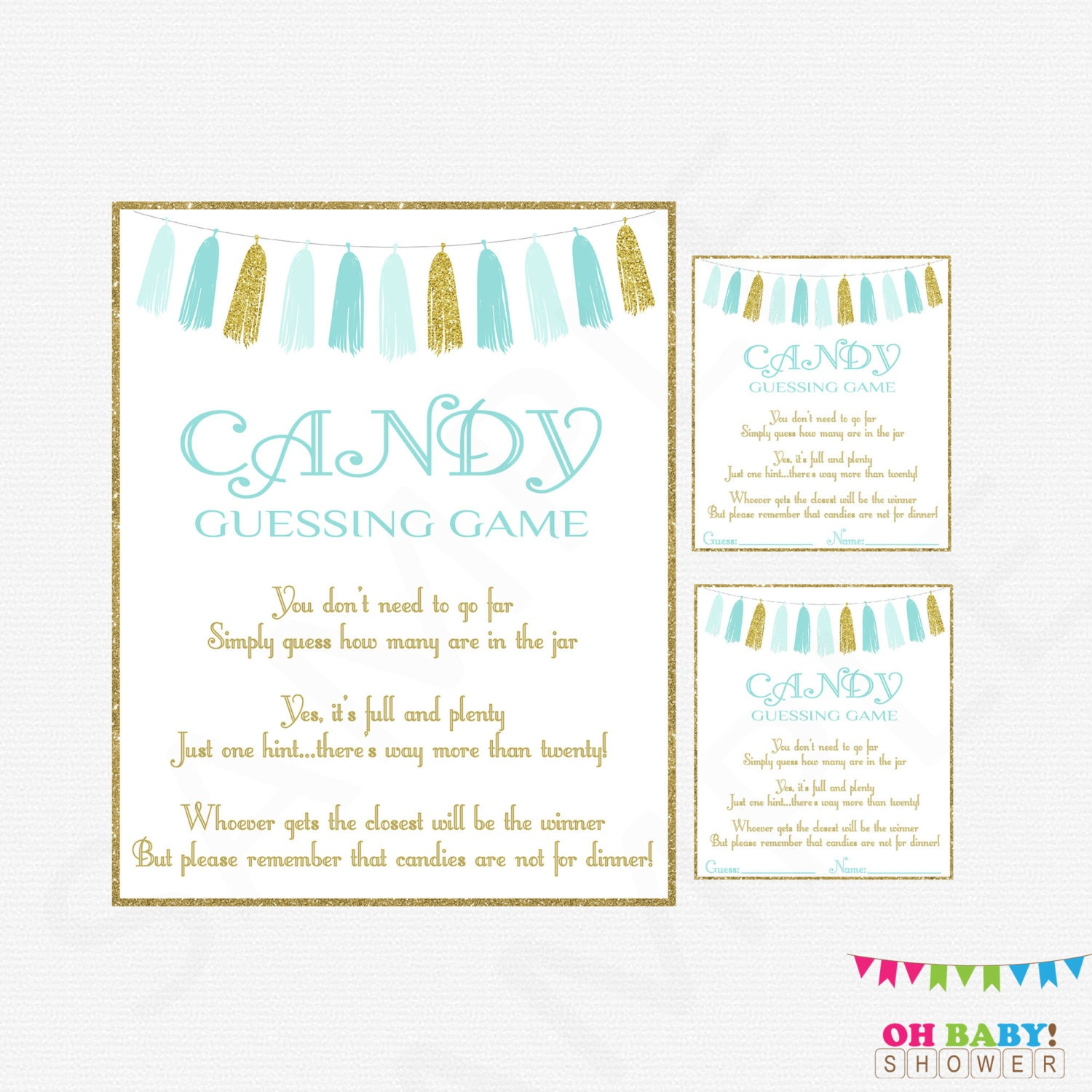 candy guessing boy baby shower blue gold baby shower