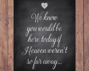 Rustic wedding memorial sign - we know you would be here today if heaven weren't so far away - PRINTABLE - 8x10 - 5x7