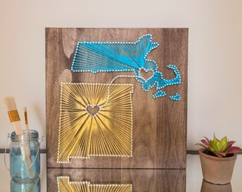 14x14 Two State String Art Connected with Hearts