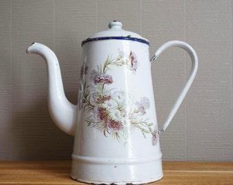 French enamel coffee pot, flowers carnations decor.