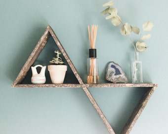 Double Triangle Shelf, Pallet Wood Shelf, Geometric Shelf, Pallet Wood Art, Reclaimed Wood Shelf, Pallet Art