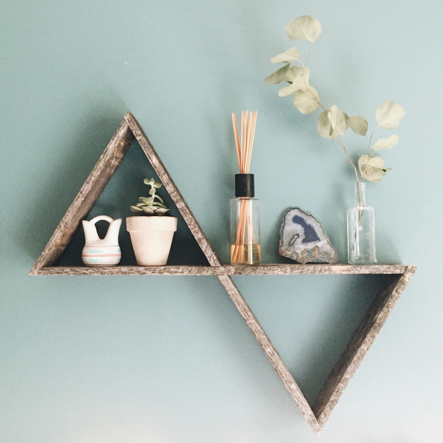 Double triangle shelf pallet wood shelf geometric shelf zoom amipublicfo Gallery
