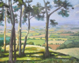 """Original oil painting of view from copse of trees on Dorset hill. English country landscape, box canvas 16"""" x 12"""","""