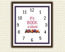 Cross Stitch Pattern pdf - It's Book o'clock - Geeky pattern for bookworms - Clock - Books