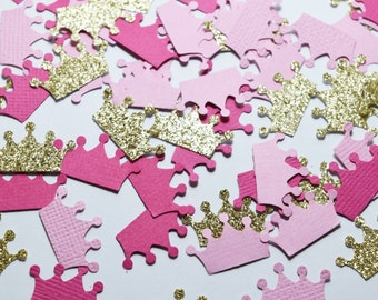 Pink and Gold Princess Crown Confetti Baby Girl Party Decorations, Princess Crowns, baby shower decorations, first birthday decorations