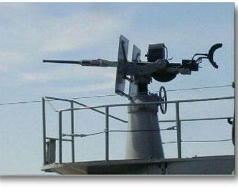 20 mm gun shot in WWII, artillery, war, guns, military, historical magnet, gun magnets, World War II