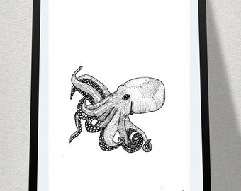 Octopus Illustration Print A4