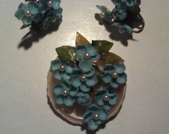 Delicate Forget-Me-Knots Earring and Brooch