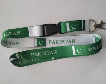 Pakistand flag reversible lanyard