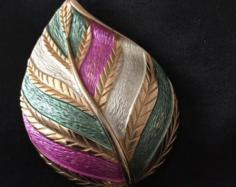 Vintage Gold Tone Leaf with Multicolor Stripe
