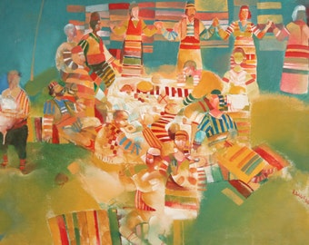 1996 Bulgarian oil painting native scene signed