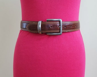 Vintage  Brown Leather Belt, Waist Leather Belt, Size S