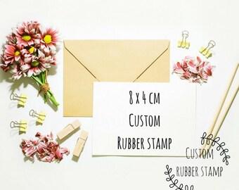 Custom rubber stamp - 8x4cm logo stamp - address stamp - wedding stamp - medium stamp - happy mail - return address - personalised stamp